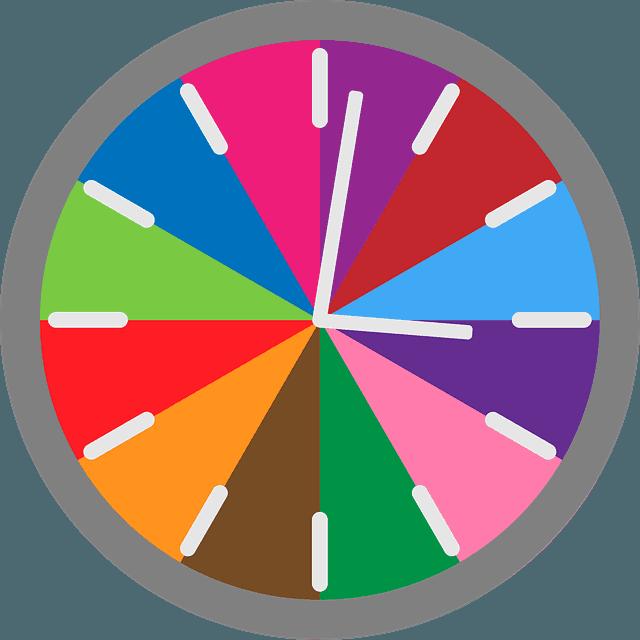 разграфен цветен часовник планиране на времето