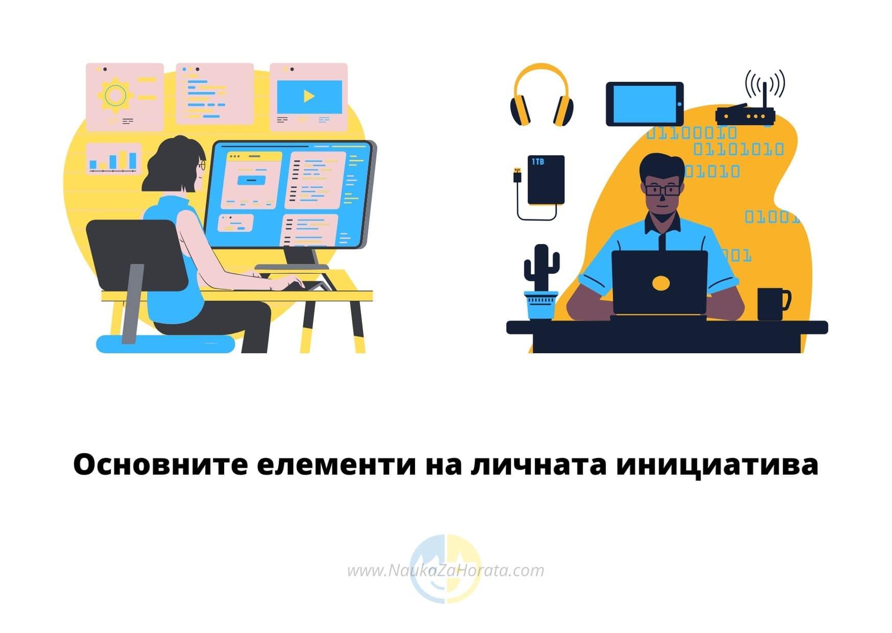 личната инициатива мъж и жена работят на компютрите си
